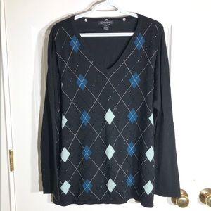 I-N-C Women's 2X Beaded V-Neck Knit Sweater